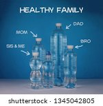 set of bottles with water over... | Shutterstock . vector #1345042805