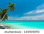 tropical beach on the maldives | Shutterstock . vector #134505092