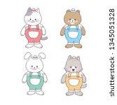 cartoon cute farmer animals... | Shutterstock .eps vector #1345051328