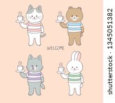 cartoon cute animals and coffee ... | Shutterstock .eps vector #1345051382