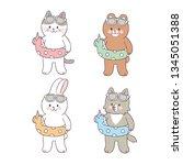 cartoon cute animals swimming... | Shutterstock .eps vector #1345051388