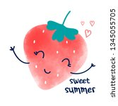 hand drawing strawberry...   Shutterstock .eps vector #1345055705