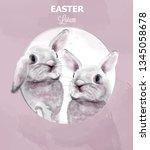 easter bunny rabbits vector... | Shutterstock .eps vector #1345058678