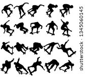 set silhouettes a skateboarder... | Shutterstock .eps vector #1345060145