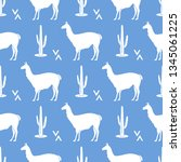 seamless pattern with llama and ... | Shutterstock .eps vector #1345061225