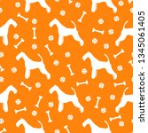 seamless pattern with dog  bone ... | Shutterstock .eps vector #1345061405