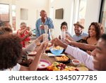 grandfather making a toast... | Shutterstock . vector #1345077785