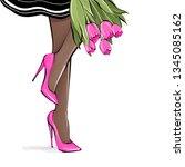 vector girl in high heels.... | Shutterstock .eps vector #1345085162