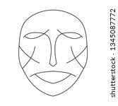cartoon face. contour face...   Shutterstock .eps vector #1345087772