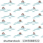 seamless background with sea. | Shutterstock .eps vector #1345088522