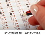 business concept   hand filling ... | Shutterstock . vector #134509466