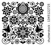 folk art retro vector pattern ... | Shutterstock .eps vector #1345122725