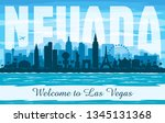 las vegas nevada city skyline... | Shutterstock .eps vector #1345131368