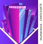modern skyscrapers illuminated... | Shutterstock .eps vector #1345131875
