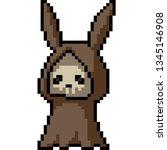vector pixel art reaper rabbit... | Shutterstock .eps vector #1345146908