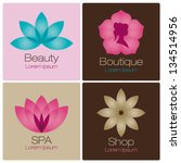 flowers design vector for spa, boutique, beauty salon, cosmetician, shop, yoga class, hotel and resort | Shutterstock vector #134514956