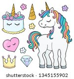 unicorn and objects theme image ...   Shutterstock .eps vector #1345155902