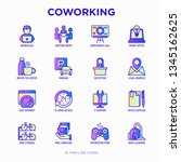 coworking office thin line... | Shutterstock .eps vector #1345162625