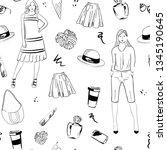 fashion cute seamless vector... | Shutterstock .eps vector #1345190645