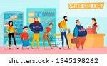 people standing in long... | Shutterstock .eps vector #1345198262
