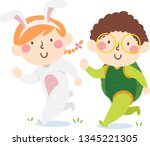 Stock vector illustration of kids in bunny and turtle costume running a race 1345221305