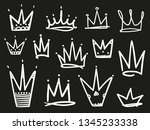 collection of crowns on black....   Shutterstock .eps vector #1345233338