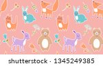 cute stylized animals for baby ... | Shutterstock .eps vector #1345249385