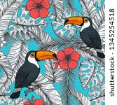 tropical seamless pattern.... | Shutterstock .eps vector #1345254518