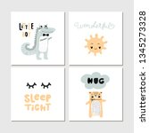 collection of children cards... | Shutterstock .eps vector #1345273328