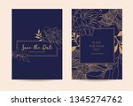 golden peonies and leaves on a... | Shutterstock .eps vector #1345274762