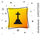 black tombstone with cross icon ... | Shutterstock .eps vector #1345275335