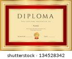 diploma   certificate template... | Shutterstock .eps vector #134528342