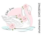 Cute Girl White Swan And Roses