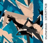grunge geometric pattern for... | Shutterstock .eps vector #1345297928
