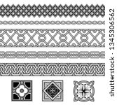 set of seamless black and white ... | Shutterstock .eps vector #1345306562