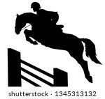 vector silhouette of rider and... | Shutterstock .eps vector #1345313132