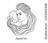 zodiac sign  aquarius symbol...   Shutterstock .eps vector #1345344368