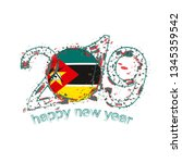 happy new 2019 year with flag... | Shutterstock . vector #1345359542