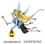 pretty cartoon fairy holding... | Shutterstock .eps vector #1345376765