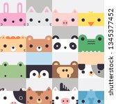 cute cartoon square animal... | Shutterstock .eps vector #1345377452