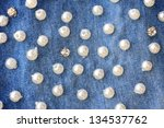 Stitched Pearls On A Blue Jeans ...
