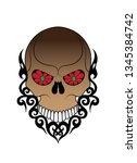 art skull tattoo. hand hand... | Shutterstock .eps vector #1345384742