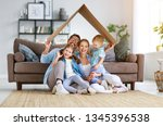 happy family mother father and... | Shutterstock . vector #1345396538