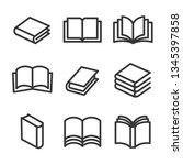 book line style icons set on... | Shutterstock .eps vector #1345397858