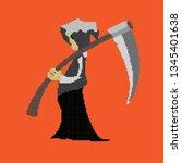 pixel messenger of death... | Shutterstock .eps vector #1345401638