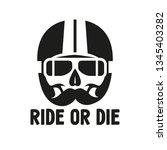 illustration skull in moto... | Shutterstock .eps vector #1345403282