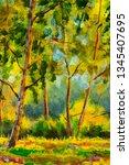 original oil painting sunny... | Shutterstock . vector #1345407695
