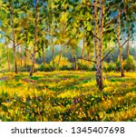 original oil painting sunny... | Shutterstock . vector #1345407698