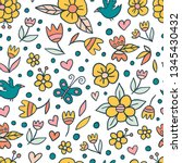 cute doodle flower pattern with ... | Shutterstock .eps vector #1345430432