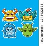 creatures head pack 01 | Shutterstock .eps vector #1345432535